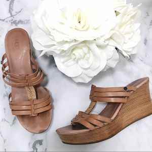 UGG Mattie Tan Leather Strappy Leather Wedges